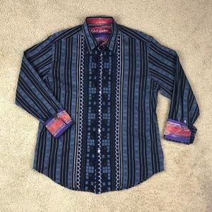 Robert Graham Navy Blue Button Up Shirt Men's XL